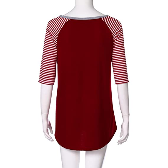4a051f99b1bce Sannysis Plus Size Blouses for Women Stripe Blessed O-Neck T-Shirt Red Tops  L-4XL at Amazon Women s Clothing store