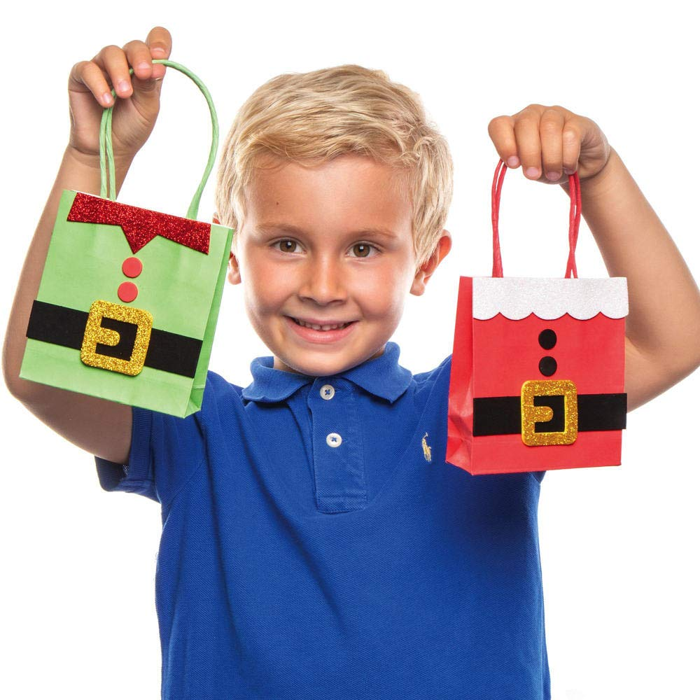 Pack of 4 Create Your own Santa and Elf Style Party Bags Children/'s Craft Activity Bag Sets Baker Ross AX423 Christmas Gift Bag Craft Kit