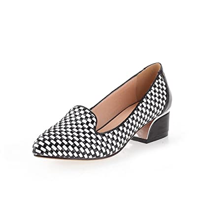 AdeeSu Womens Comfort No-Closure Pointed-Toe Casual Patent-Leather Pumps Shoes SDC04910