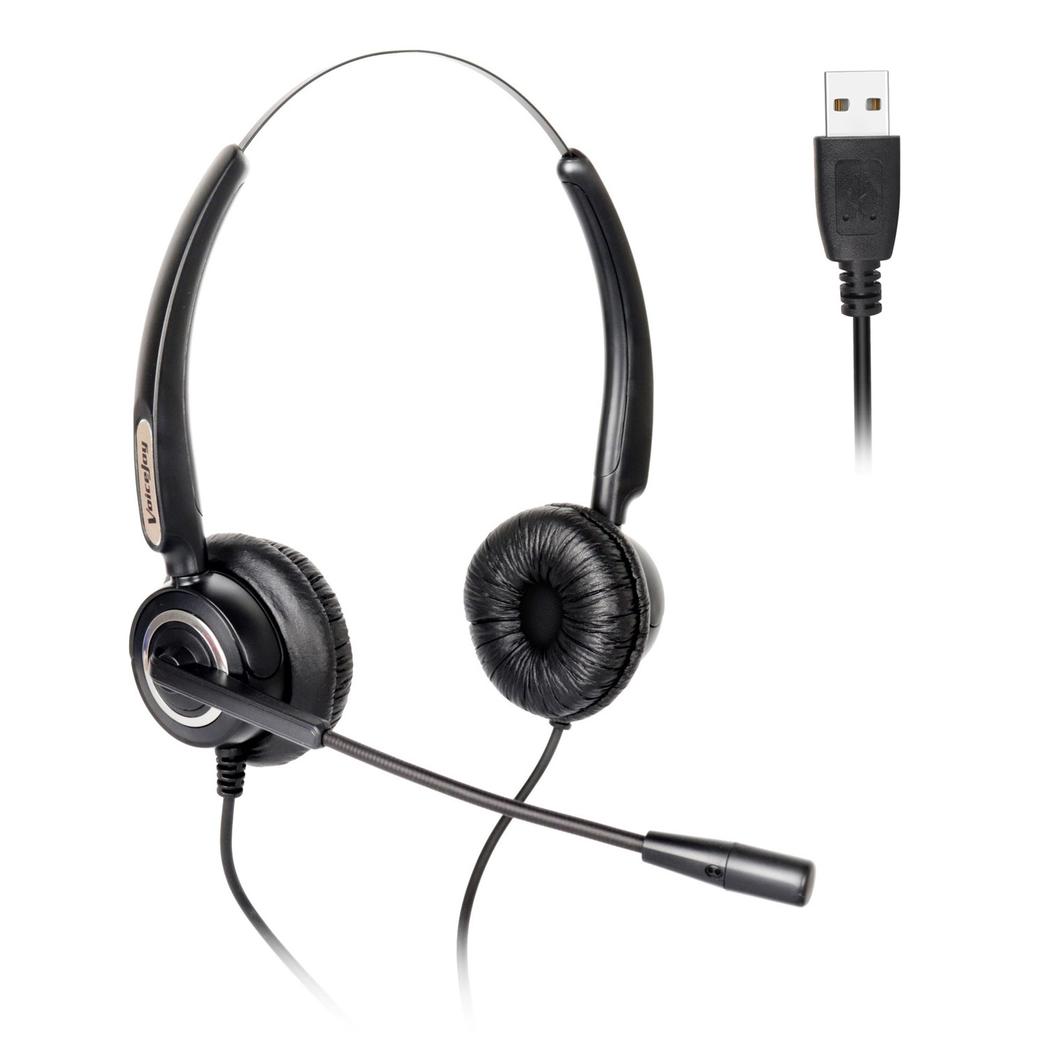 Binaural USB Headset with Microphone Noise Cancelling and Volume Adjuster for Computer, Skype,Laptop