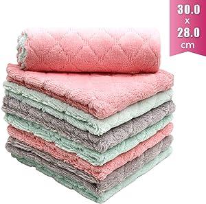 "Alimat PluS Microfibre Cleaning Cloth Absorbent Dish Cloths Tea Towels (8 Pack) - Lint Free Car Rags Kitchen Towels 12"" x 11"", Multicolor"