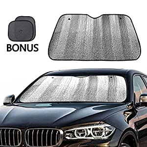 Windshield Sun Shade + Bonus Car Window Sun Shade by Big Ant-Best Car Sun Shade to Keeps Vehicle Cool-UV Ray Protector Sunshade Fit for Cars Suv Trucks Minivans(55.1 x 27.5 inches)