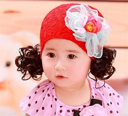 Bonito nette Lace Primavera Otoño Baby peluca Gorro niña Doble Trenzado – Gorro infantil de tapa