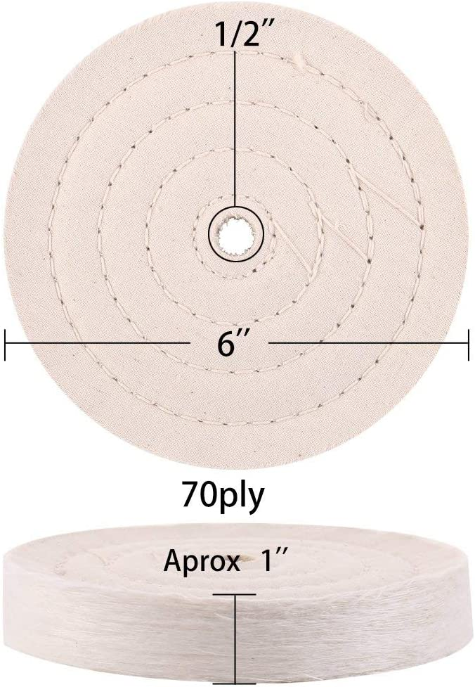 Extra Thick Buffing Polishing Wheel 6 inch for Bench Grinder Tool with 1//2 Arbor Hole 2 Pack 70 Ply