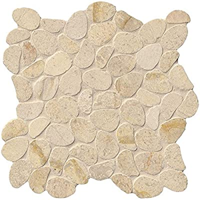 Coastal Sand Pebble 12 In. X 10 mm Honed Limestone Mesh-Mounted Mosaic Tile, (10 sq. ft., 10 pieces per case)