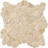 M S International Coastal Sand Pebble 12 In. X 10 mm Honed Limestone Mesh-Mounted Mosaic Tile, (10 sq. ft., 10 pieces per case)
