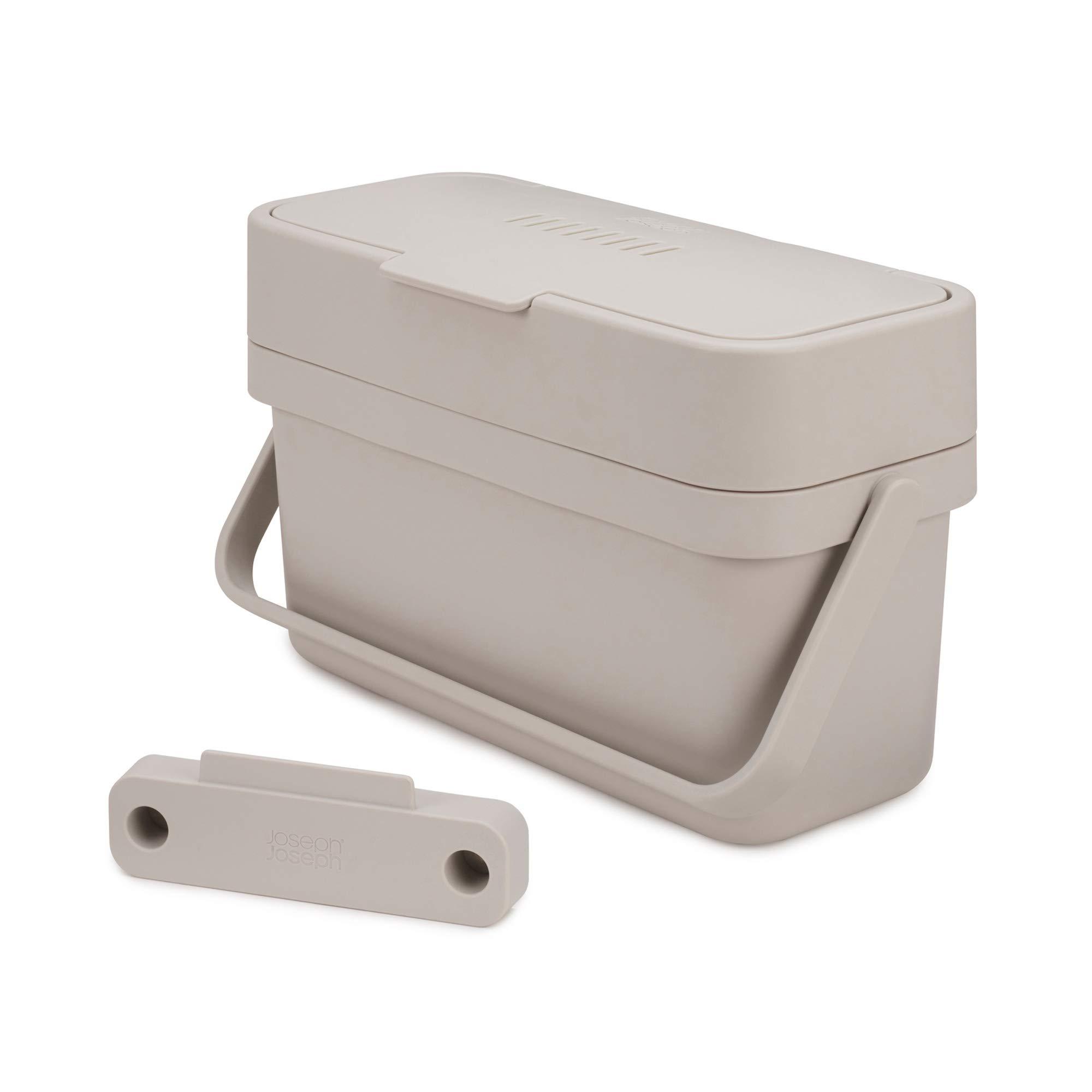 Joseph Joseph 30046 Compo Easy-Fill Compost Bin Food Waste Caddy with Adjustable Air Vent, 1 gallon / 4 liters, Stone by Joseph Joseph