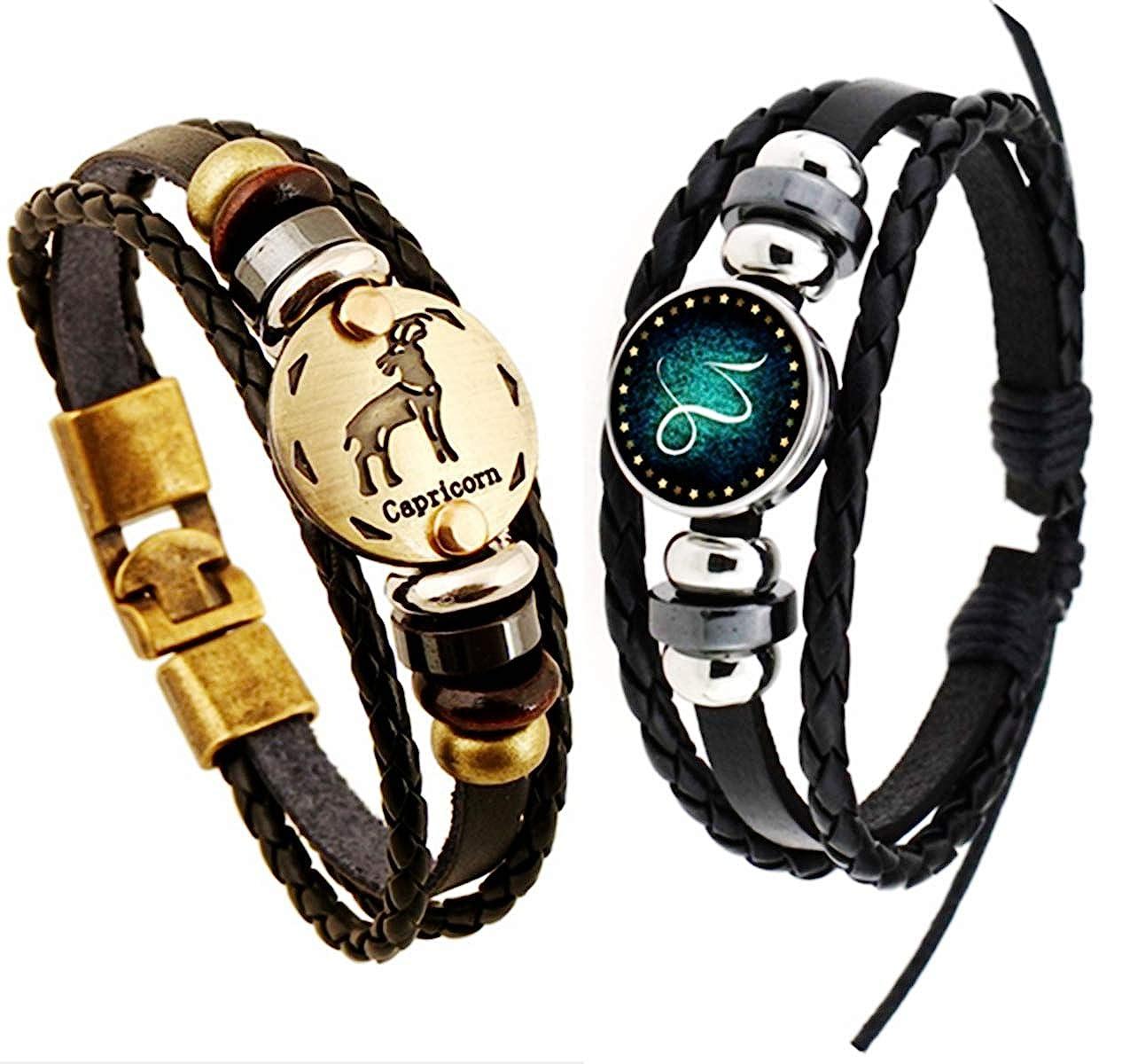 Newless 2 Pcs Constellation Leather Bracelet Punk Braided Rope Bracelet Bangle
