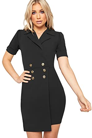 4303ae5906c4 WearAll Women's Gold Button Short Sleeve V-Neck Wrapover Mini Blazer Dress  Ladies Bodycon -