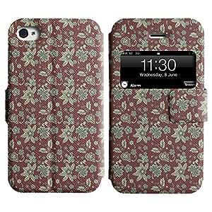 LEOCASE patrón de flores Funda Carcasa Cuero Tapa Case Para Apple iPhone 4 / 4S No.1002657