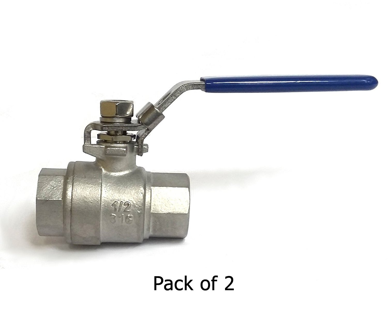 1/4 NPT, 2 Piece, 316 Stainless Steel, Full Port Ball Valve w/Blue Vinyl Handle, WOG 1000, Pack of 2 (.25'')