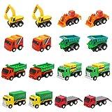 Nuheby Macchinine Giocattolo per Bambini Camion Bambino Mini Tirare Indietro Auto Veicoli Bulldozer Escavatore Regalo Ragazza Ragazzo 3,4,5,6 Anni,16 Pezzi