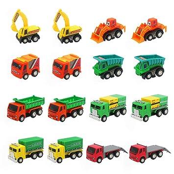Coches de Juguetes Niños Mini Vehiculos Infantiles Camion 16 Pcs Miniaturas Tire hacia Atrás Coches Maquetas Regalos Navidad Cumpleaños Niños Niñas 3 ...