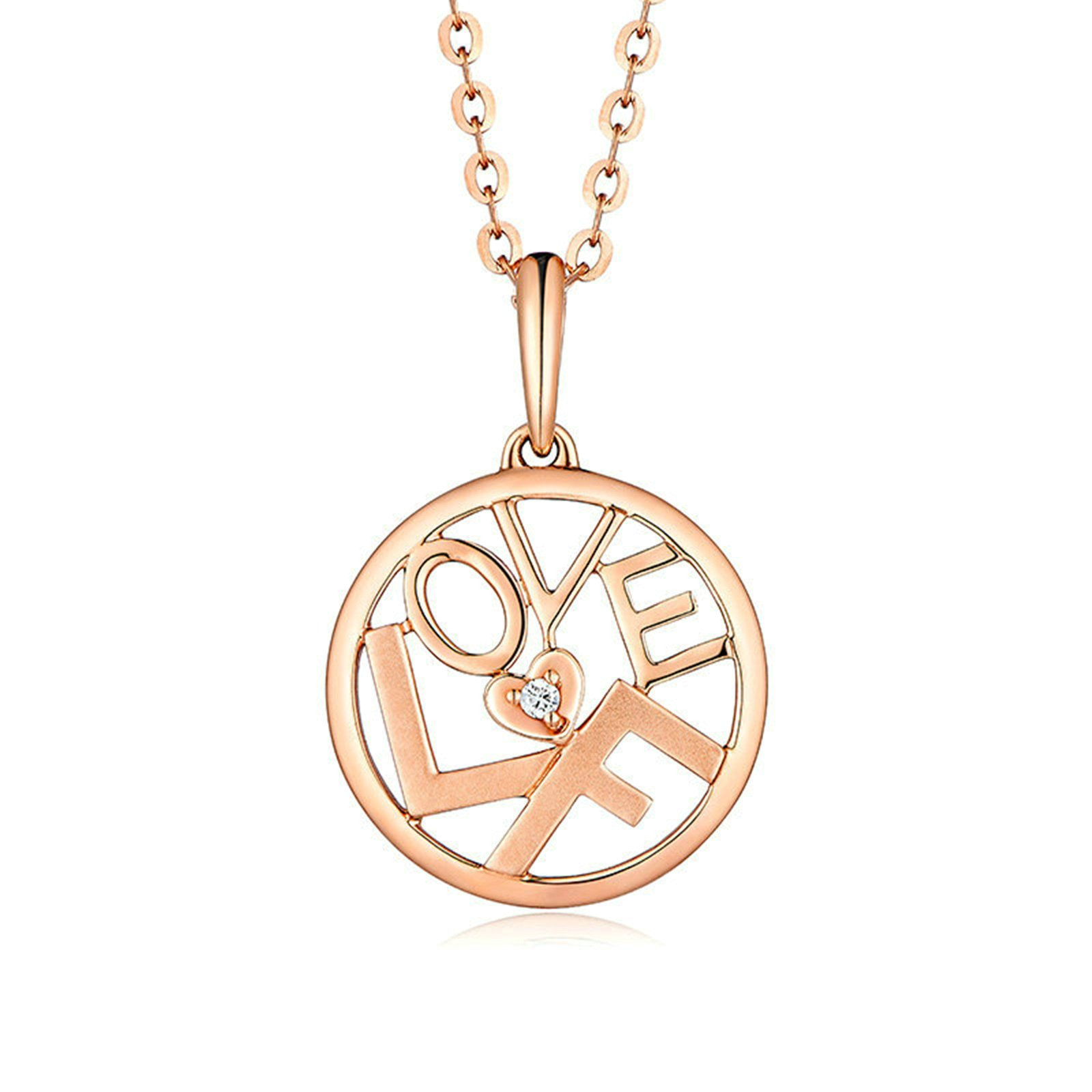 Daesar 18K Gold Womens Necklace Round LOVE Heart & Diamond Pendant Necklace Rose Gold Chain 45CM (2.6G) by Daesar (Image #1)