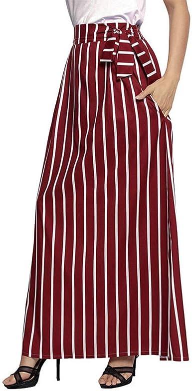 DOGZI Falda de Mujer Vestido de Encaje de Gasa a Rayas de Cintura ...