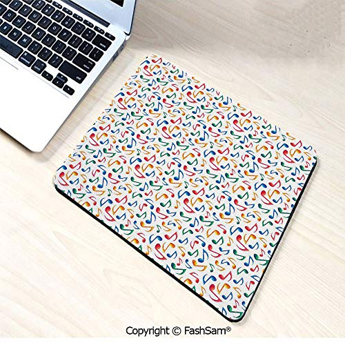 (Personalized 3D Mouse Pad Cute Musical Notes Melody Kids Beats Watercolor Radio Rhythm Vibes Artful Design Decorative for Laptop Desktop(W9.85xL11.8))