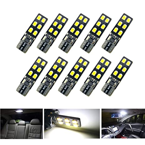 TKD W5W LED Bombillas LED Canbus 2835 12SMD W5W Lámpara de techo interior de coche con