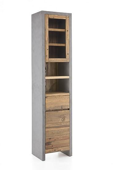 Woodkings® Hochschrank Burnham 45x200cm Echtholz Pinie Natur Rustikal Und  MDF In Beton Optik Grau Badmöbel