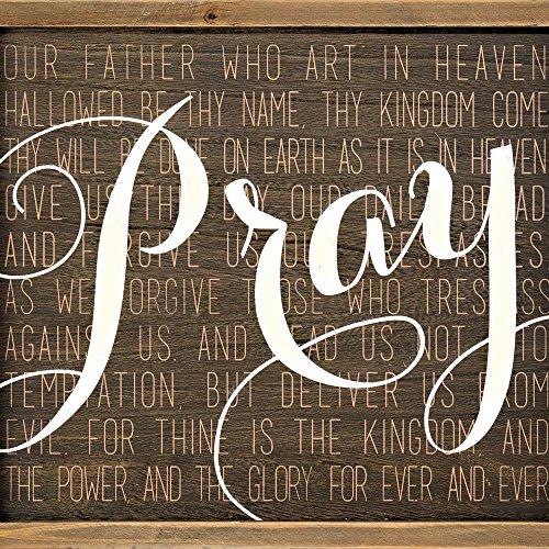 Dicksons Pray, The Lord's Prayer Mocha with Vanilla Script 14 x 11 Wood Wall Sign - Prayer Wall Lords