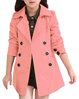 9a8740c5be4ea JiaYou Girl Child Kid Lapel Double Breasted Outwear Pea Trench Coat