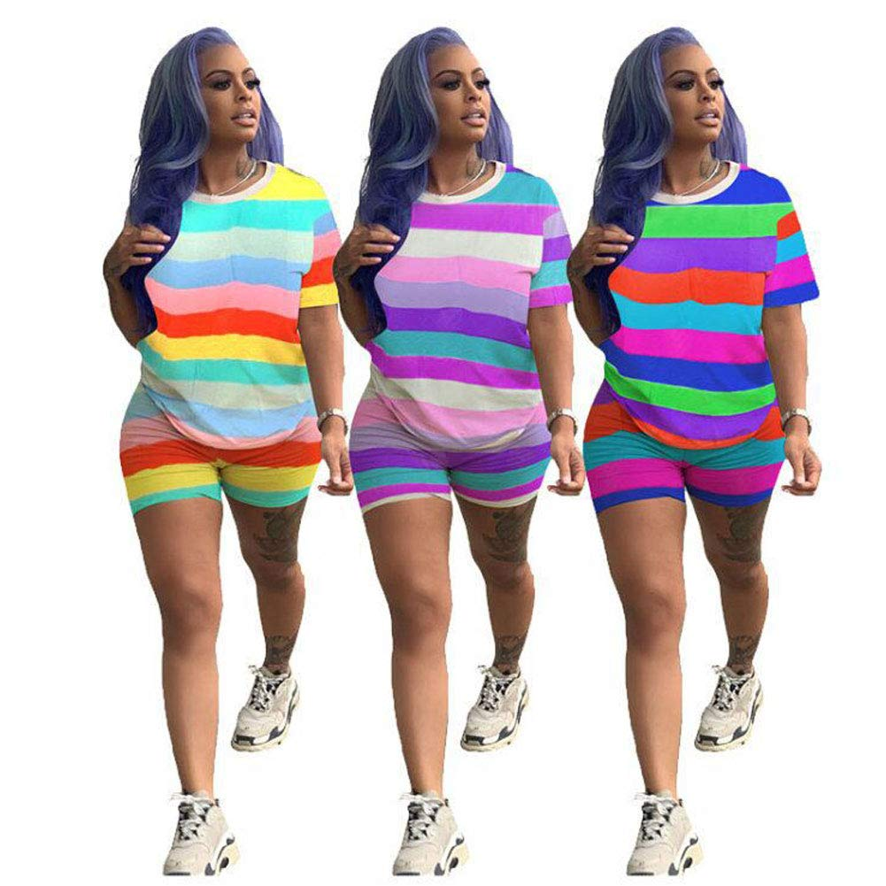Women Sexy 2 Piece Outfits - Stripes Shorts Sets Rompers Short Sleeve Tops Yellow L