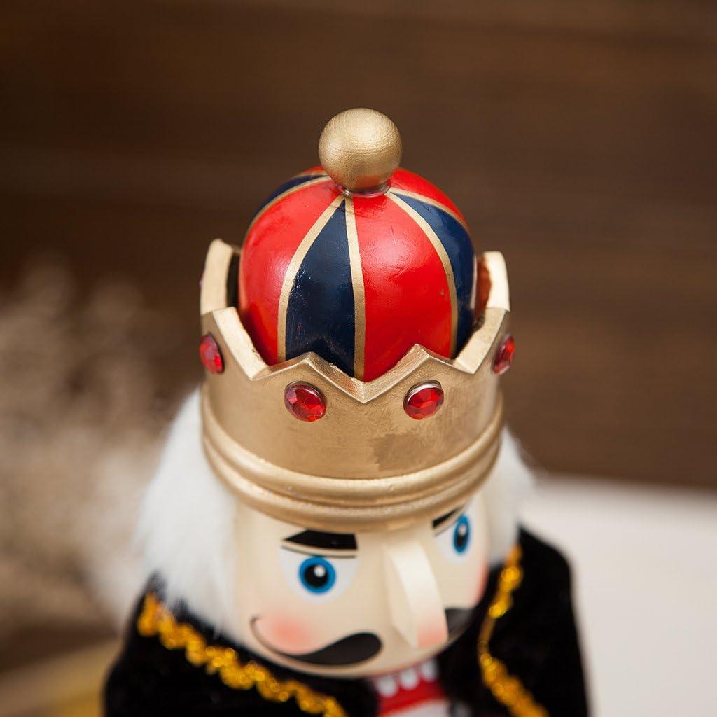 SM SunniMix Classic Wood Nutcracker King 38CM Soldier Figurines Model Doll Toy Home Decor Decoration King Blue Cloak