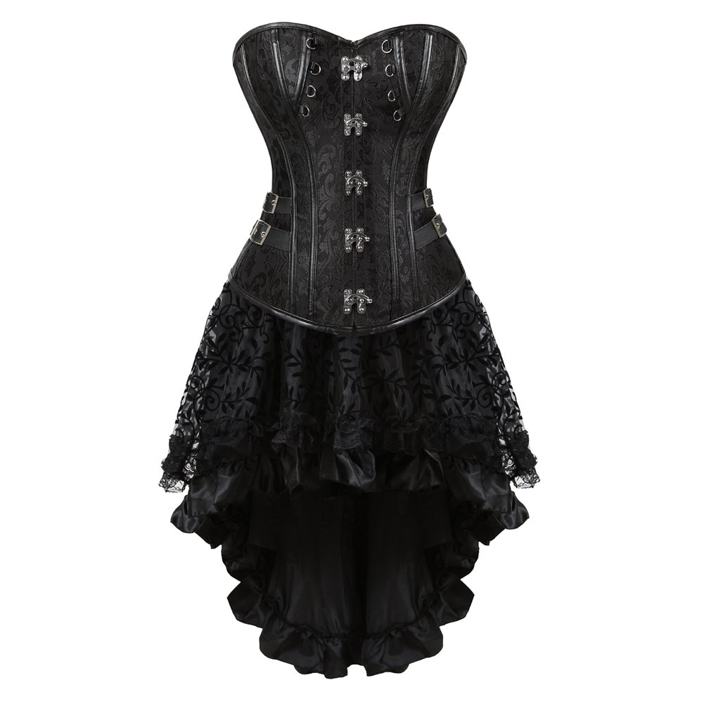 Grebrafan Steampunk Jacquard Faux Leather Studded Overbust Corsets with Fluffy Pleated Layered Tutu Skirt 2UG-8110black+7056