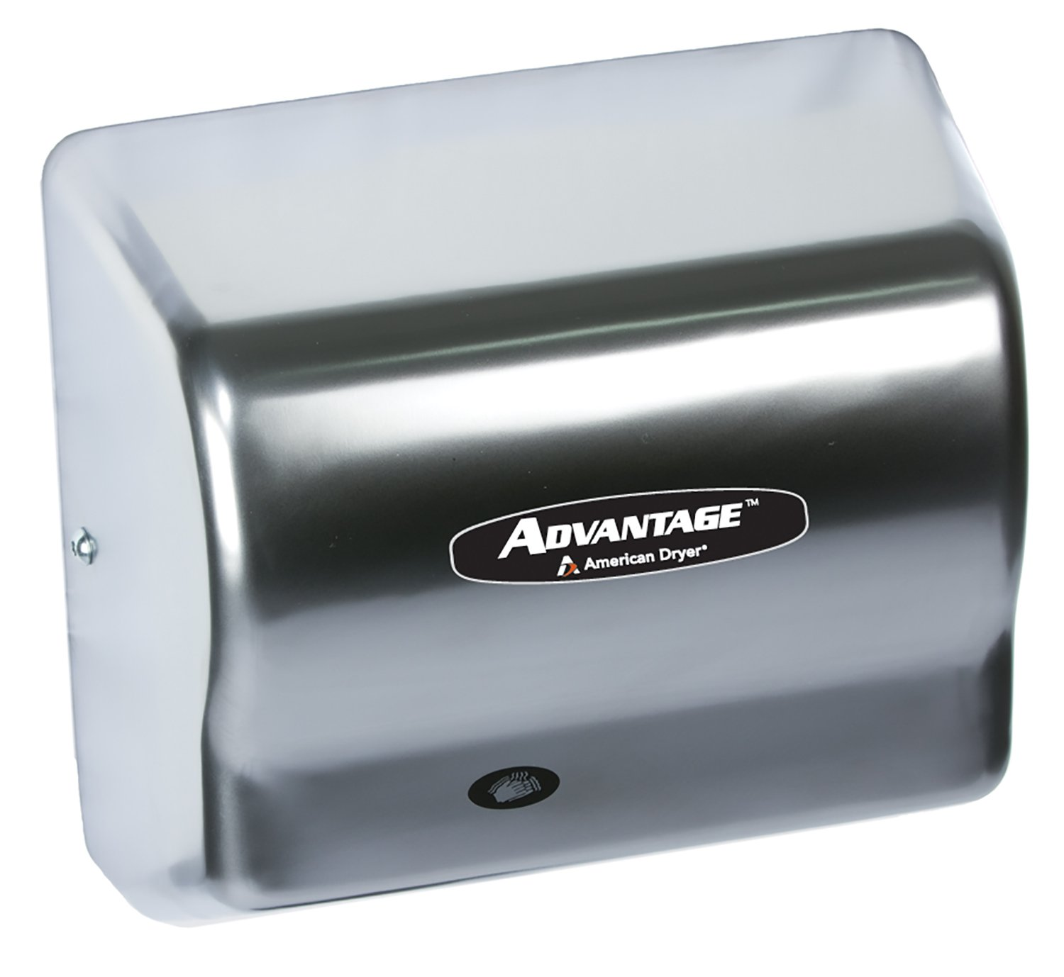 Image of American Dryer AD90-SS Advantage Stainless Steel Standard Automatic Hand Dryer, 4 Brush Finish, 1/8 HP Motor, 100-240V, 5-5/8' Length x 10-1/8' Width x 9-3/8' Height Hand Dryers