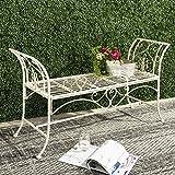 """Safavieh PAT5016A Collection Arona Antique Green Wrought Iron 51"""" Outdoor Garden Bench"""