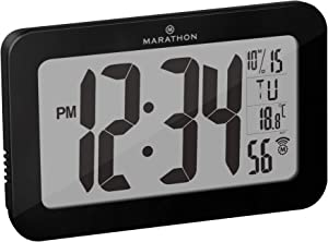 Marathon Commercial Grade Panoramic Autoset Atomic Digital Wall Clock with Table or Desk Stand, Date, and Temperature, 8 Time Zone, Auto DST, Self Setting, Self Adjusting, Batteries Included (Black)