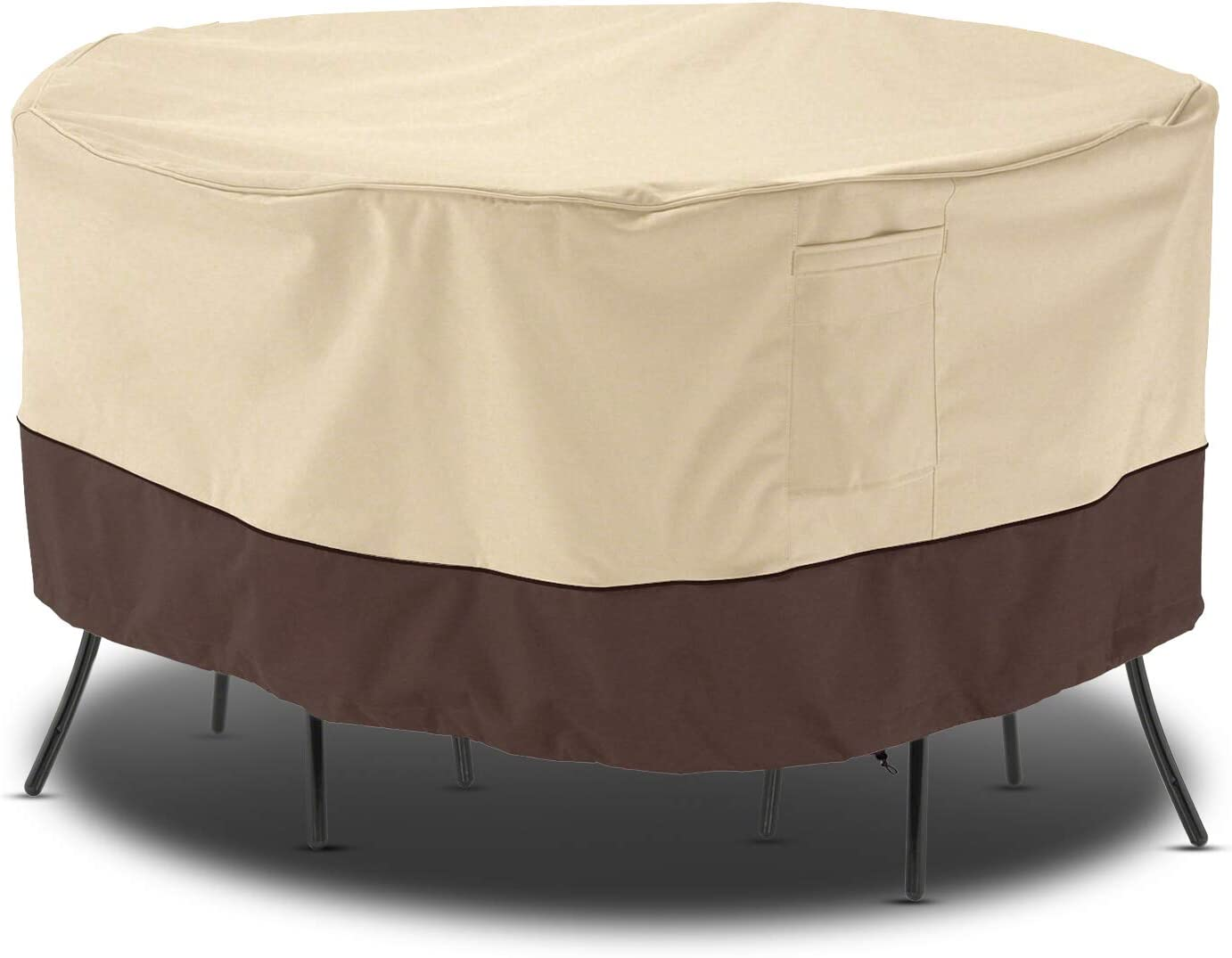 "Arcedo Patio Furniture Set Cover, Outdoor Round Table and Chair Cover, Heavy Duty Waterproof Lawn Dining Table Cover with Buckled Strap, Dustproof and Sunproof, 84"" Dia, Beige & Brown : Garden & Outdoor"