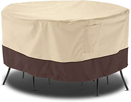 Amazon Com Arcedo Outdoor Furniture Set Cover Patio Waterproof Table And Chair Cover Heavy Duty Large Veranda Round Dining Table Cover With Air Vent Weather Resistant 94 Dia Beige Brown