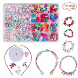 QH-Shop Kids Beads,DIY Bead Colorful Plastic 24 Compartments Bracelets Making Bead Art Kit in PVC Box as Gift for Children Girls 480 pieces