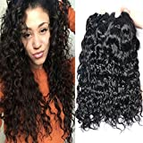 Iwish 3 Bundles of Brazilian Hair Water Wave Real Human Hair Bundles Deals Brazilian Virgin Hair Wet and Wavy Weave Extensions (16 18 20, natural black)