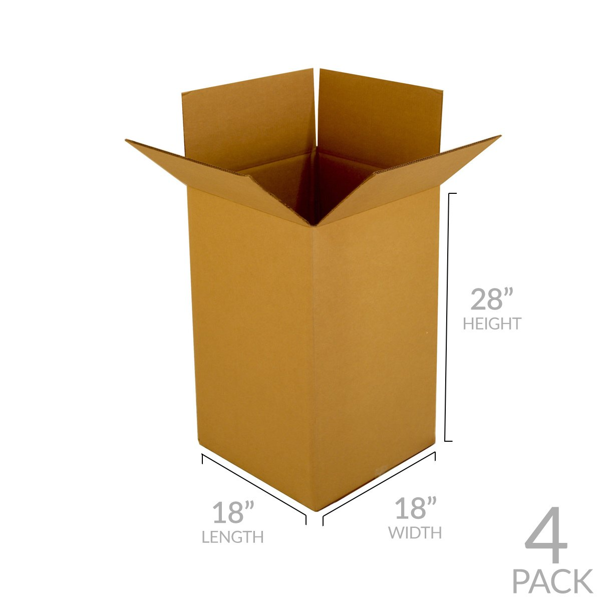 UBOXES Kitchen Moving Boxes (4 Pack) Double Wall 18x18x28'' Heavy Duty Boxes