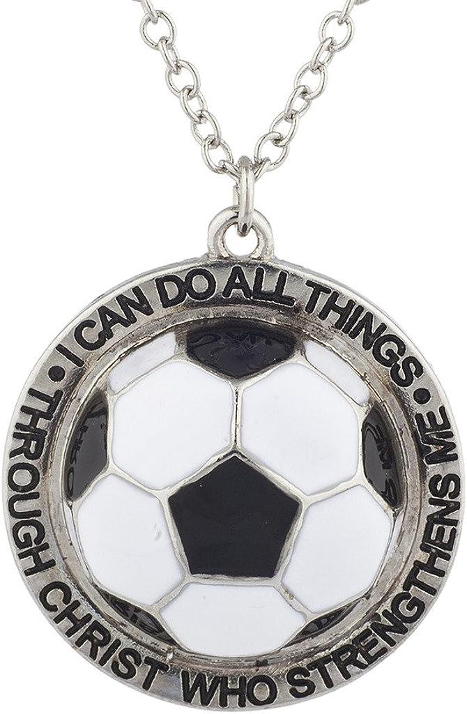 Lux Accessories - Collar con Colgante de Bola de fútbol Religiosa ...