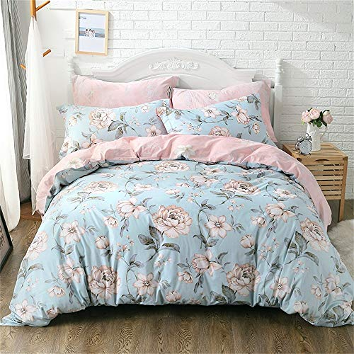 FADFAY Shabby Pink Blue Floral Bedding Sets Cotton Duvet Cover Set 4-Piece Full Size - Piece Bedding 4 Silk