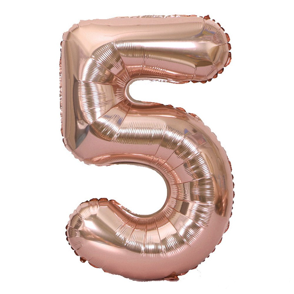 Number Balloons Rose Gold 40inch Helium Birthday Balloons Foil Mylar Digital Balloons for Birthday/Party/Wedding Anniversary (D)