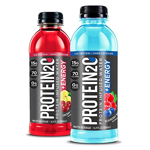 Protein2o Low Calorie Whey Protein Drink Plus Energy, Variety Pack, 16.9 Oz 12Count