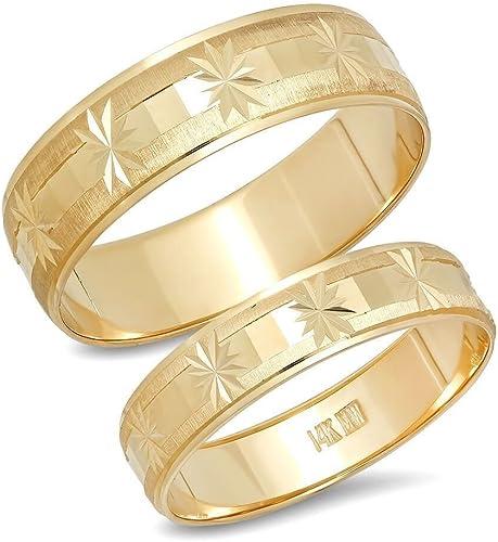 Matching 14K White /& Yellow Gold Wedding Band size 8.25 MATCHING Set