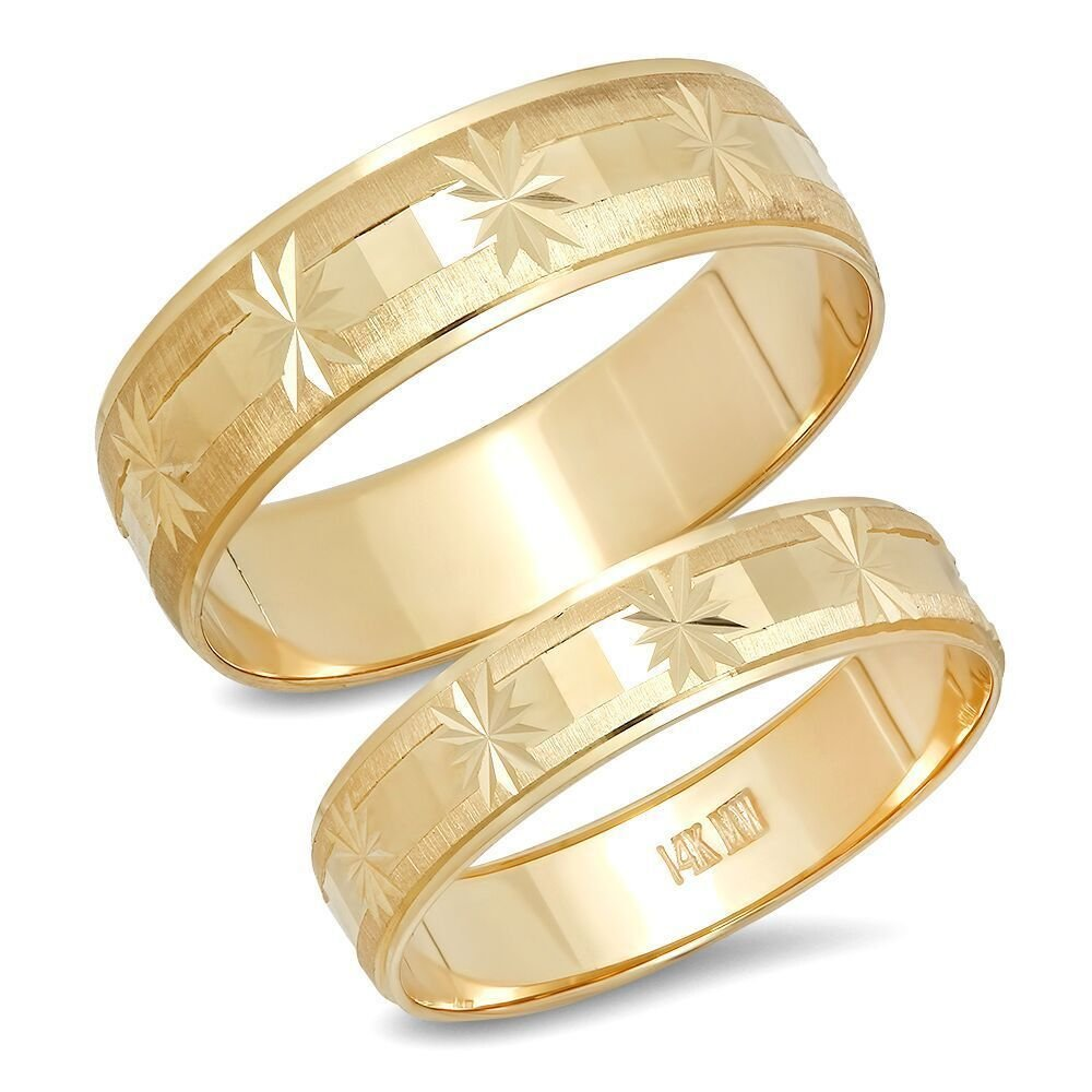 14K Solid Yellow Gold His & Her's Matching Snowflake Design Wedding Band Ring Set Satin Edge (Choose a Size)