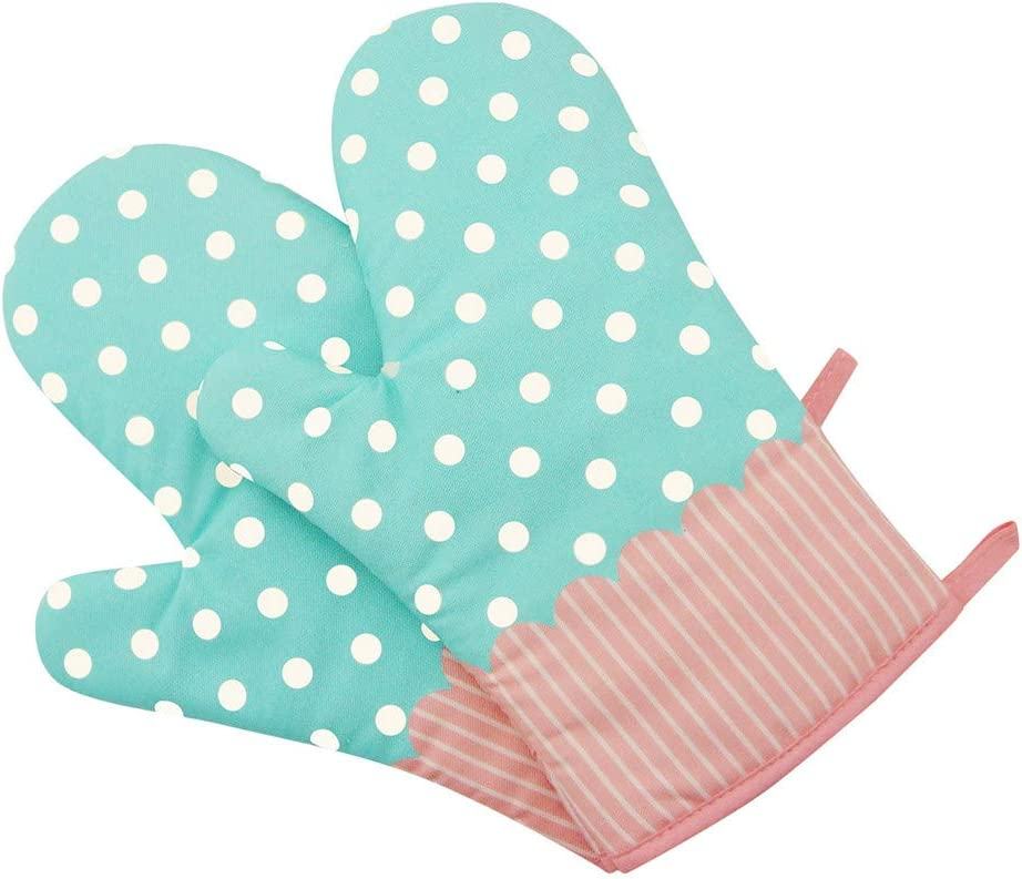 Grilling BBQ FunDiscount Professional Heat Resistant Potholder Kitchen Gloves Cotton Double-Layer Heat Insulation Oven Mitts Extra Long Baking Hot Pot Pad Handler for Cooking Kitchen Blue