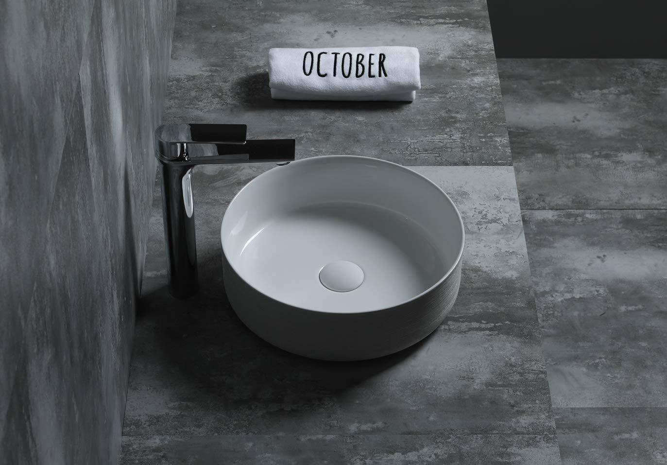 Forme Rond lavabo SFino-Cilin Art Beige Vasque /à Poser Salle de Bain en c/éramique Starbath