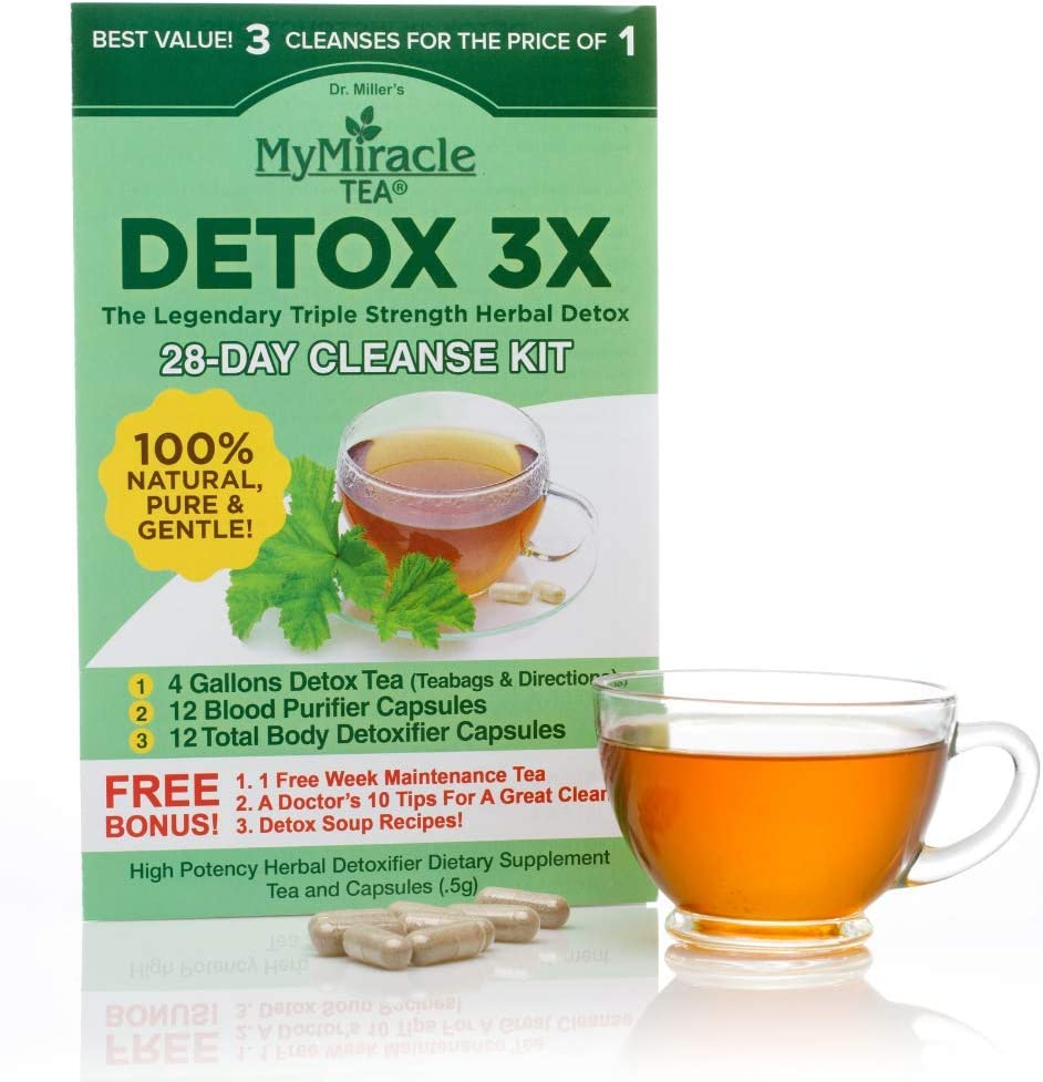 Herbal Detox Cleanse Kit by My Miracle Tea 3-Part Triple Cleanse for Weight Loss, Purity and Health 28 Day