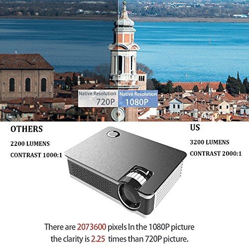 1080P Projector XINDA HD True Native 1920X 1080P Video Projector for 210