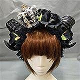 Large Black Evil Maleficent Horns Roses Gothic Hair Headpiece Crown Headband Lolita Veil Sheep Horn Hair Accessories (BlackA)