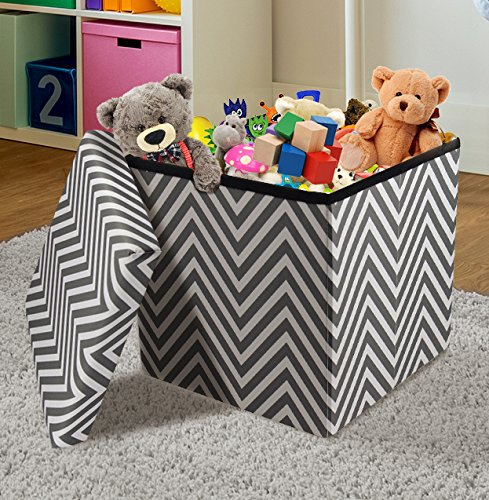 Sorbus Chevron Storage Ottoman Cube – Foldable/ Collapsible with Lid Cover – Perfect Hassock, Foot Stool, Toy Storage Chest, and more (Small-Ottoman, Chevron Gray)