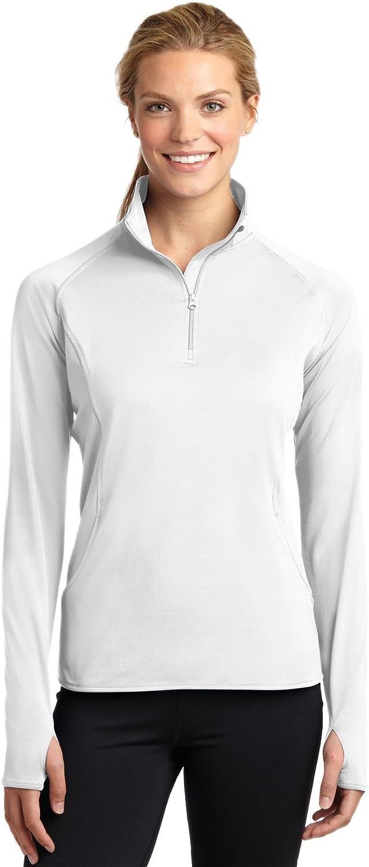 4XL White Sport-Tek Ladies Sport-Wick Stretch 1//2-Zip Pullover