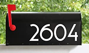 "White - Modern Contemporary Mailbox Numbers - - 4"" Tall - - Vinyl Sticker - Art Deco Name Home House Office Address - COPA - Die Cut Decal"