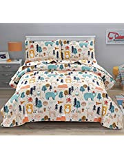 Kids Quilt Set Full/Queen Size Boys Cute Bedspread Coverlet Animal Bear Bedding Kids Printed Quilt Cartoon Bedspread Reversible Lightweight Kids Quilt+2 Pillow Shams for All Season